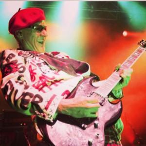 Captain Sensible, guitarist with The Damned, ounk legend, in his Red Mutha custom blazer made for his Birthday gig.